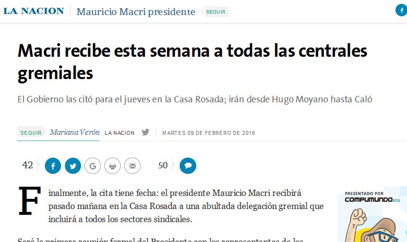 Macri recibe esta semana a todas las centrales gremiales - 09.02.2016 - LA NACION