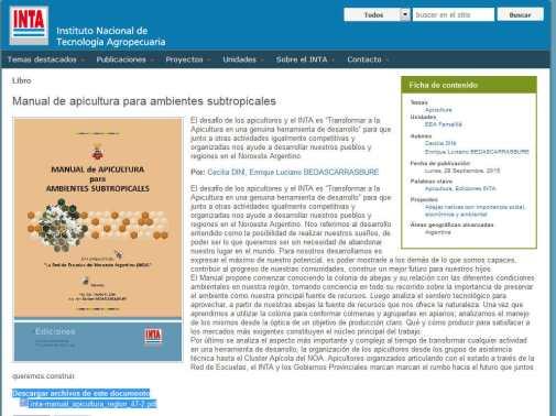 Manual de apicultura para ambientes subtropicales - INTA Instituto Nacional de Tecnología Agropecuaria