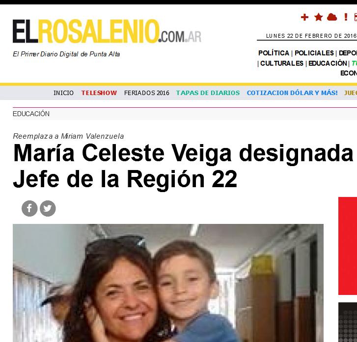 María Celeste Veiga designada Inspectora Jefe de la Región 22 - El Rosalenio Digital - Punta Alta
