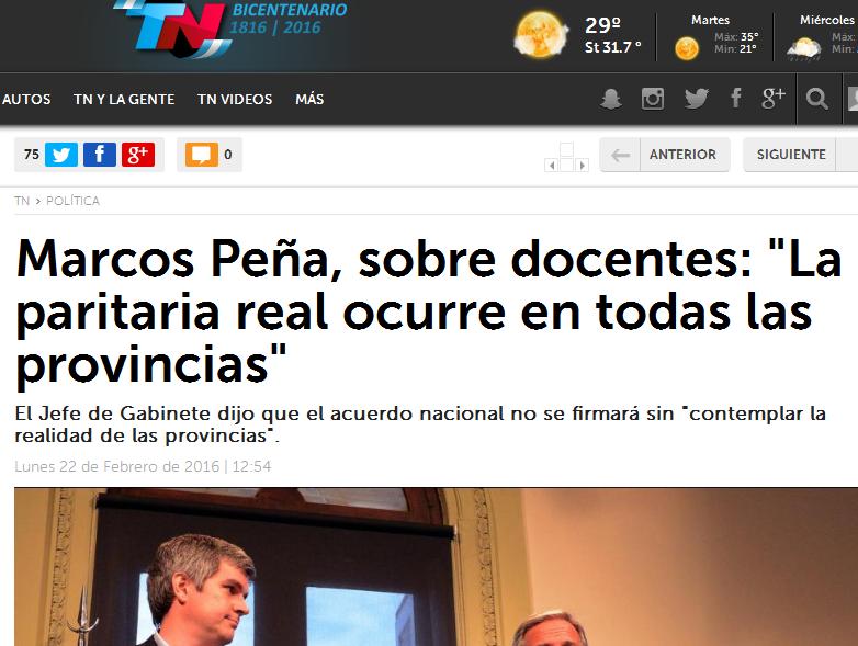 Marcos Peña, sobre docentes 'La paritaria real ocurre en todas las provincias' - TN.com.ar