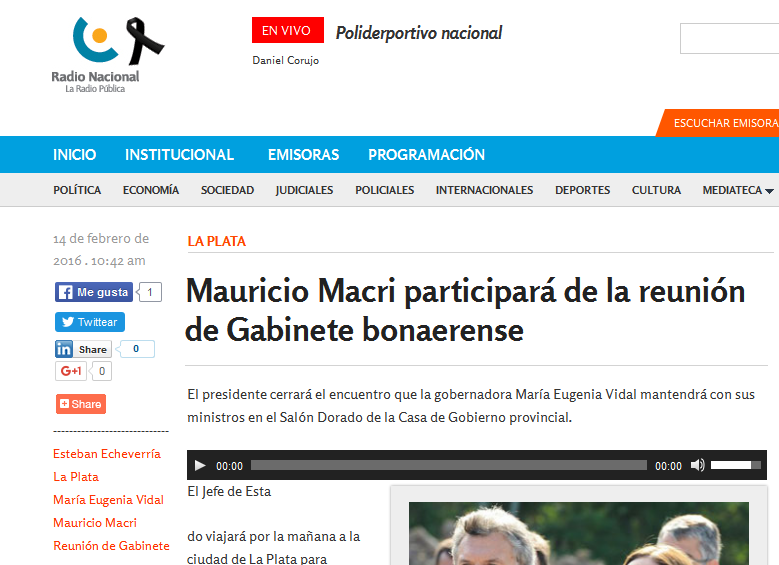 Mauricio Macri participará de la reunión de Gabinete bonaerense - Radio Nacional Argentina. La Radio Pública.