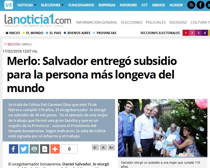 Merlo Salvador entregó subsidio para la persona más longeva del mundo - LaNoticia1.com