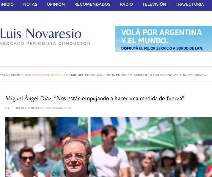 """Miguel Ángel Díaz """"Nos están empujando a hacer una medida de fuerza"""""""