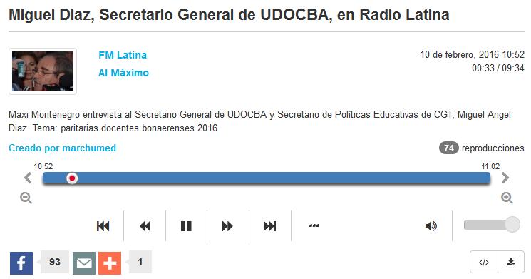 Miguel Diaz, Secretario General de UDOCBA, en Radio Latina - Radiocut