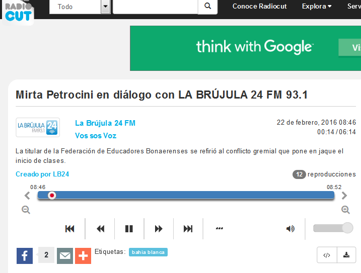 Mirta Petrocini en diálogo con LA BRÚJULA 24 FM 93.1 - Radiocut