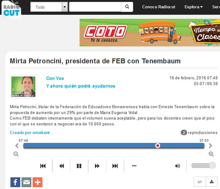 Mirta Petroncini, presidenta de FEB con Tenembaum - Radiocut