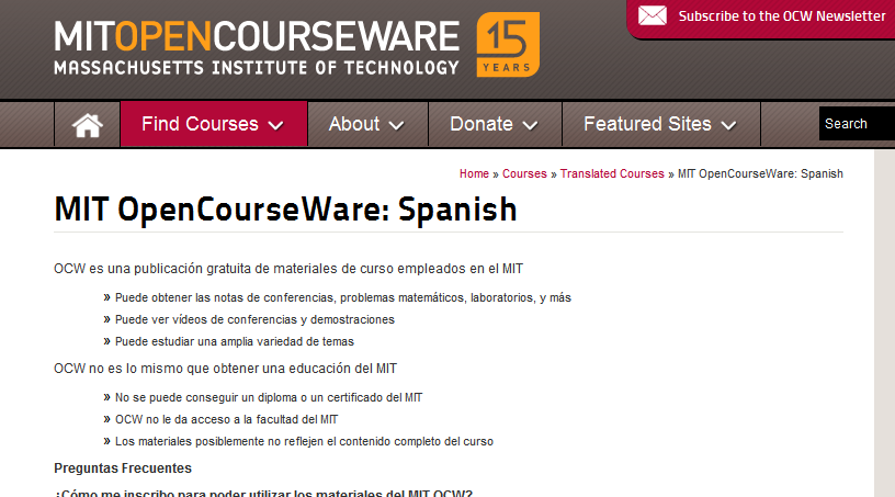 MIT OpenCourseWare Spanish - MIT OpenCourseWare - Free Online Course Materials