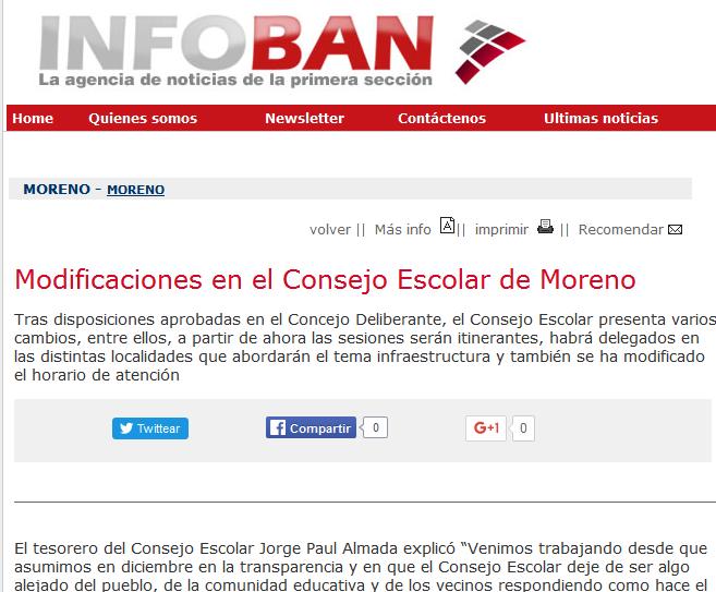 Modificaciones en el Consejo Escolar de Moreno - Agencia de Noticias InfoBAN