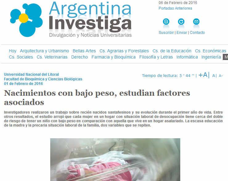 Nacimientos con bajo peso, estudian factores asociados - Argentina Investiga