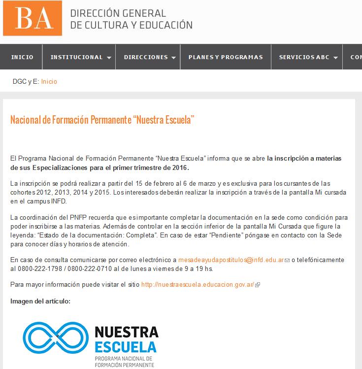 """Nacional de Formación Permanente """"Nuestra Escuela"""" - Dirección General de Cultura y Educación"""