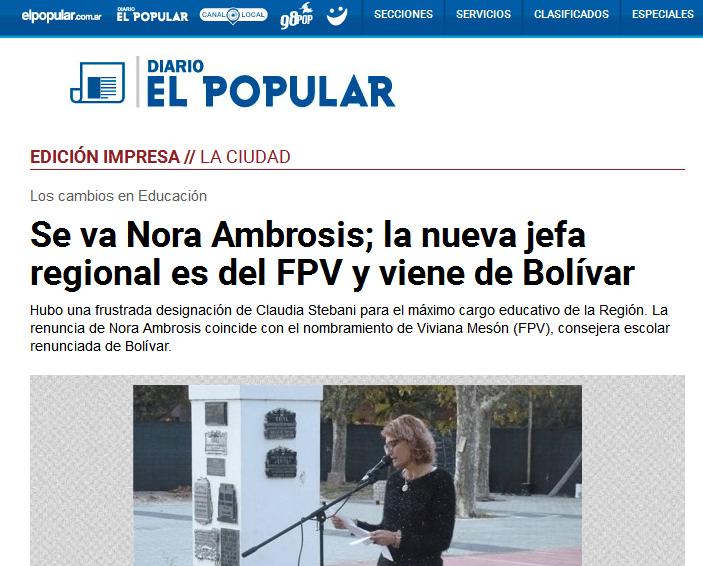 Noticias de Olavarría ofrecidas por Diario El Popular