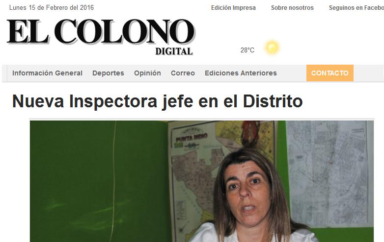 Nueva Inspectora jefe en el Distrito - EL COLONO(1)