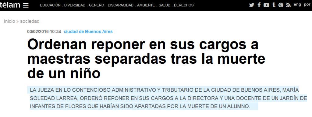 Ordenan reponer en sus cargos a maestras separadas tras la muerte de un niño - Télam - Agencia Nacional de Noticias
