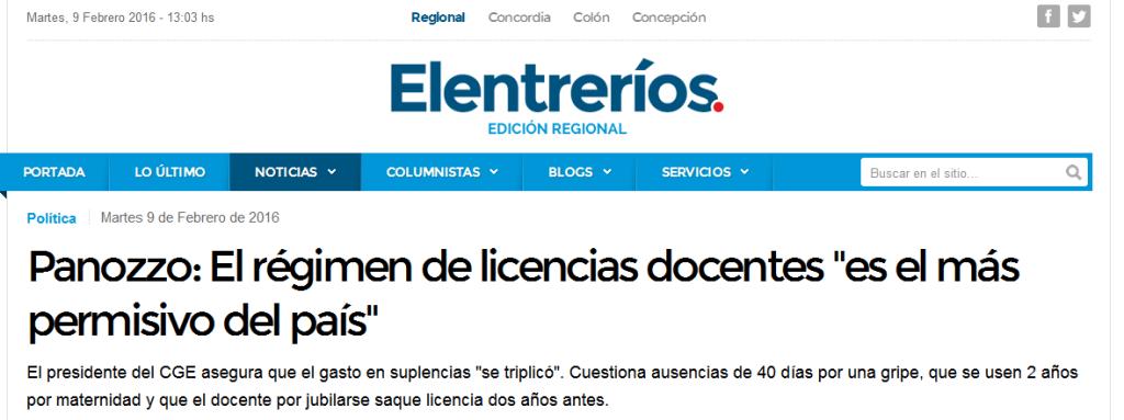"""Panozzo El régimen de licencias docentes """"es el más permisivo del país"""" - Política - elentrerios.com"""