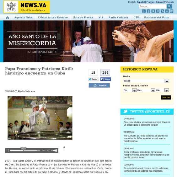 Papa Francisco y Patriarca Kirill histórico encuentro en Cuba