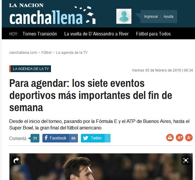 Para agendar los siete eventos deportivos más importantes del fin de semana - Lionel Messi - canchallena.com