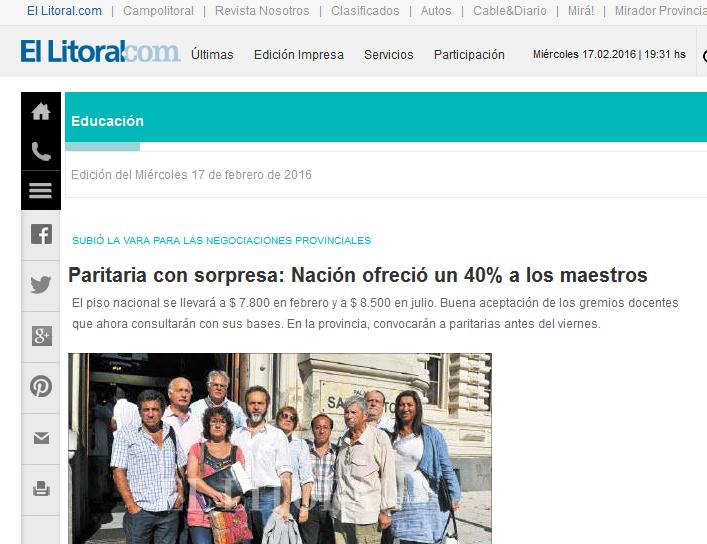 Paritaria con sorpresa Nación ofreció un 40% a los maestros - Educación Diario El Litoral - Santa Fe - Argentina