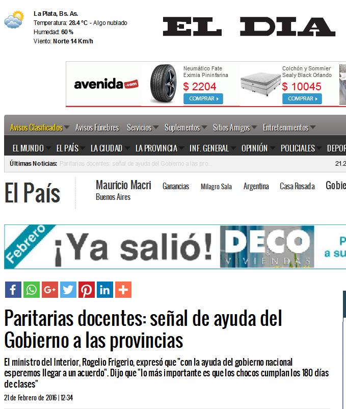 Paritarias docentes señal de ayuda del Gobierno a las provincias - Diario El Día