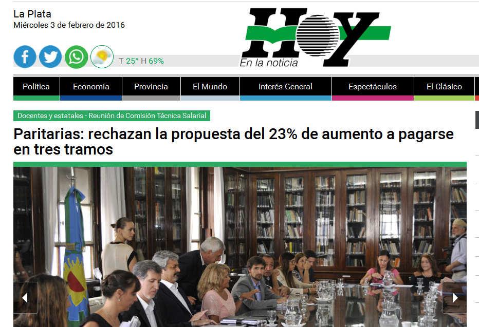 Paritarias rechazan la propuesta del 23% de aumento a pagarse en tres tramos - Diario Hoy
