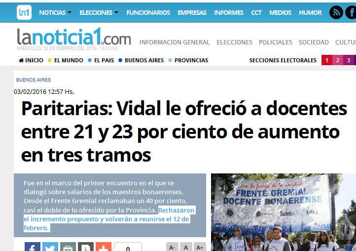 Paritarias Vidal le ofreció a docentes entre 21 y 23 por ciento de aumento en tres tramos