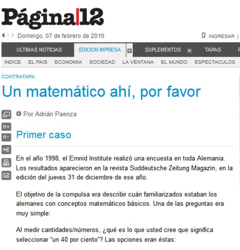 Página-12 Contratapa Un matemático ahí, por favor