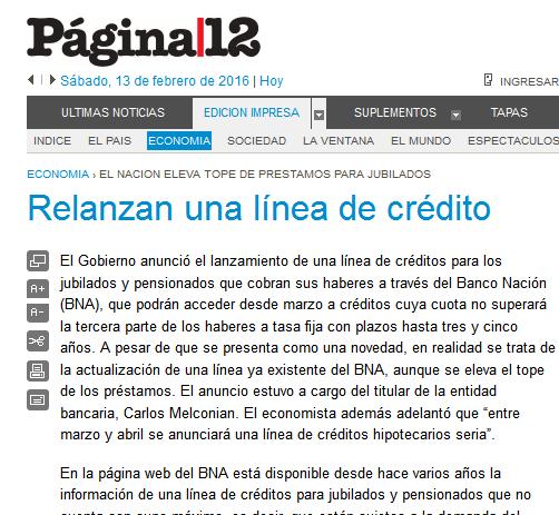 Página-12 Economía Relanzan una línea de crédito