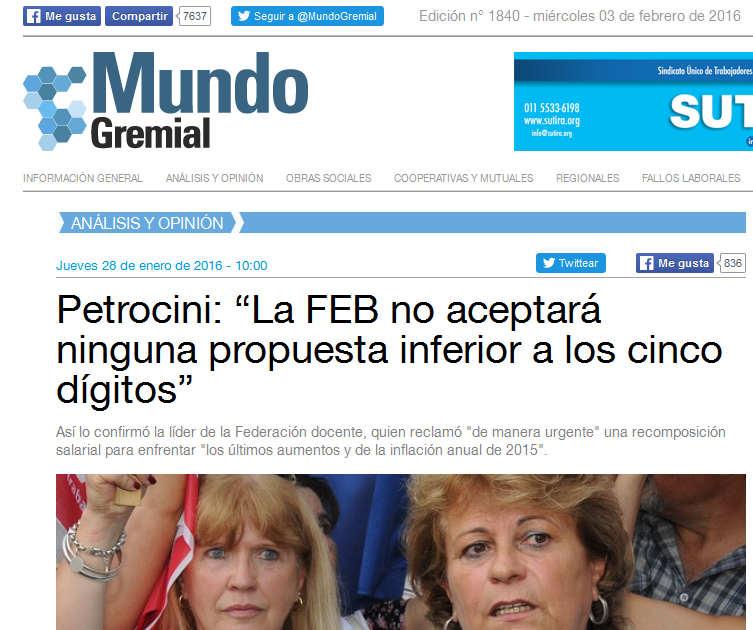 """Petrocini """"La FEB no aceptará ninguna propuesta inferior a los cinco dígitos"""" - Mundo Gremial"""