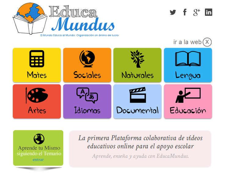 Plataforma con vídeos educativos para apoyo escolar