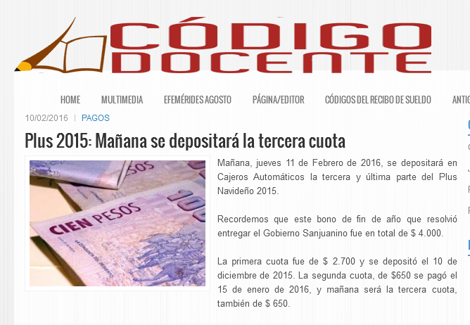 Plus 2015 Mañana se depositará la tercera cuota -