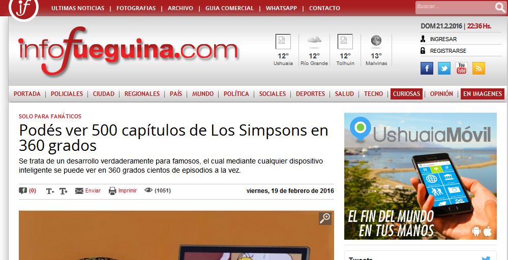 Podés ver 500 capítulos de Los Simpsons en 360 grados - Infofueguina - Tierra del Fuego