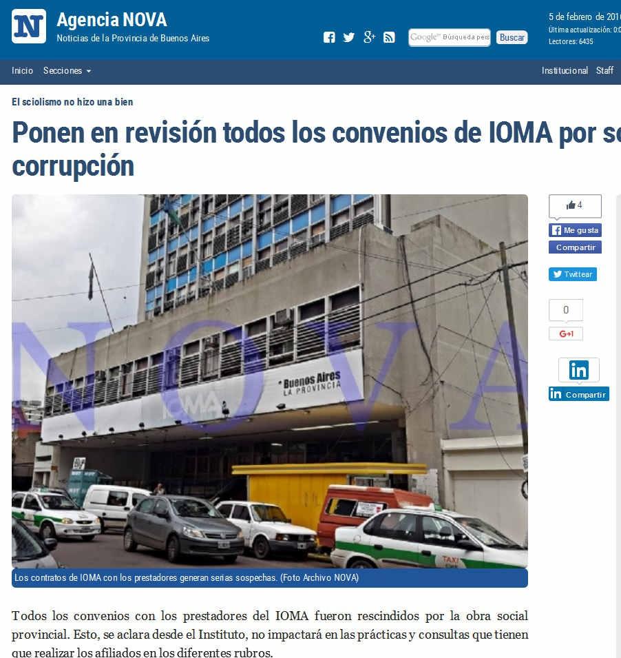 Ponen en revisión todos los convenios de IOMA por sospechas de corrupción