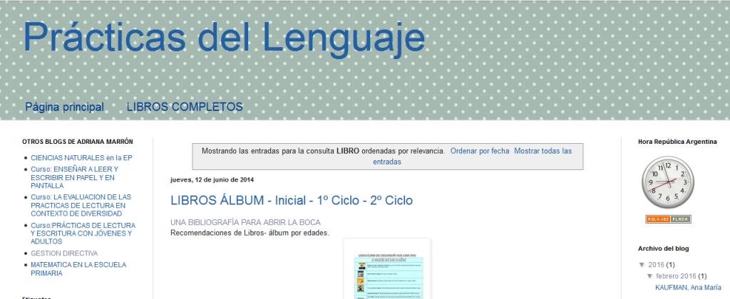 Prácticas del Lenguaje Resultados de la búsqueda de LIBRO