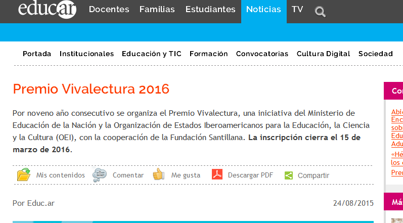Premio Vivalectura 2016 - Noticias educ.ar