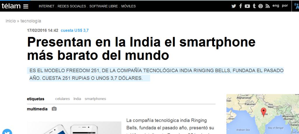 Presentan en la India el smartphone más barato del mundo - Télam - Agencia Nacional de Noticias