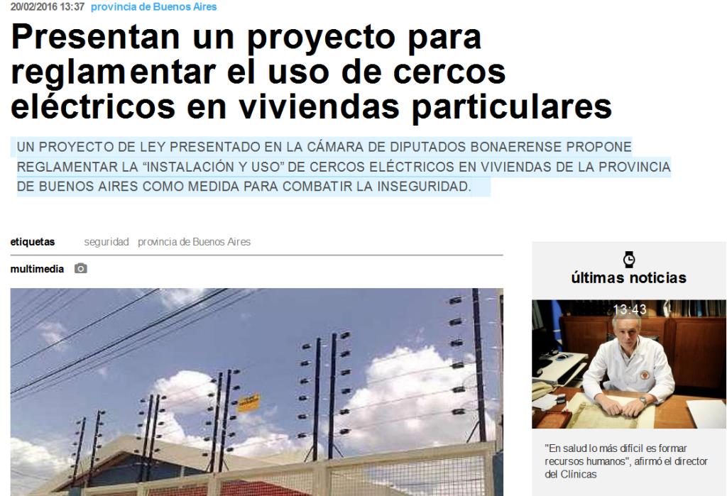 Presentan un proyecto para reglamentar el uso de cercos eléctricos en viviendas particulares - Télam - Agencia Nacional de Noticias