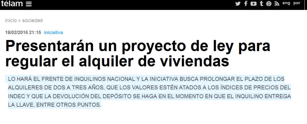 Presentarán un proyecto de ley para regular el alquiler de viviendas - Télam - Agencia Nacional de Noticias