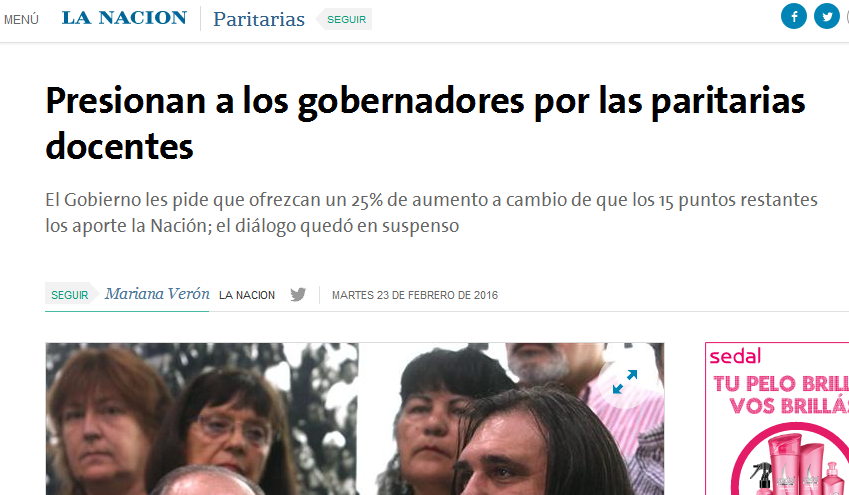 Presionan a los gobernadores por las paritarias docentes - 23.02.2016 - LA NACION