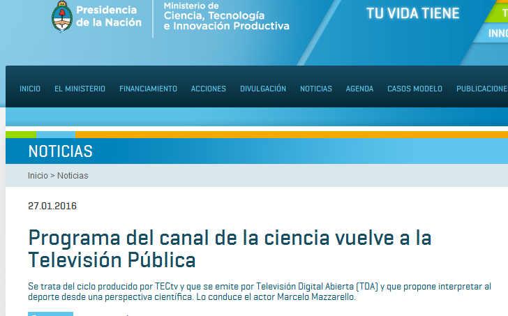 Programa del canal de la ciencia vuelve a la Televisión Pública