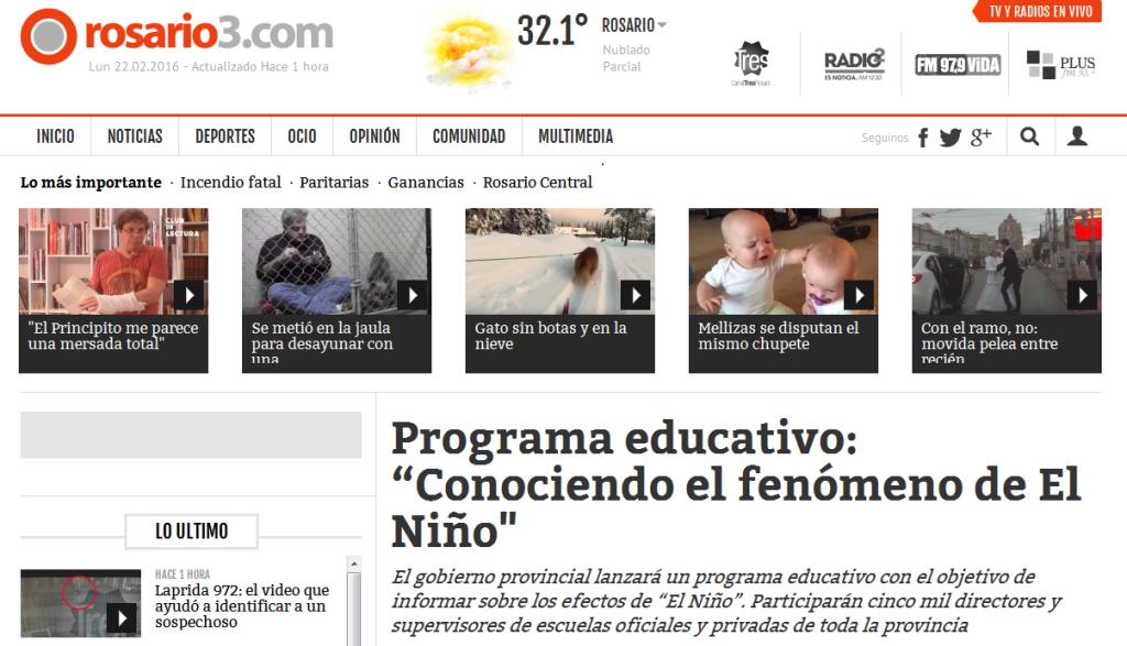 """Programa educativo """"Conociendo el fenómeno de El Niño' - Rosario3.com"""