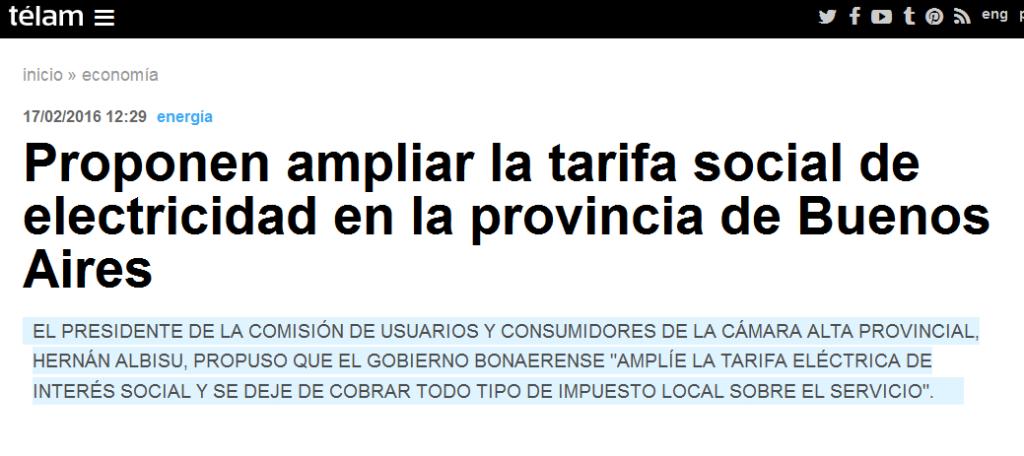 Proponen ampliar la tarifa social de electricidad en la provincia de Buenos Aires - Télam - Agencia Nacional de Noticias