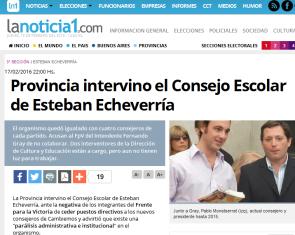 Provincia intervino el Consejo Escolar de Esteban Echeverría - LaNoticia1.com
