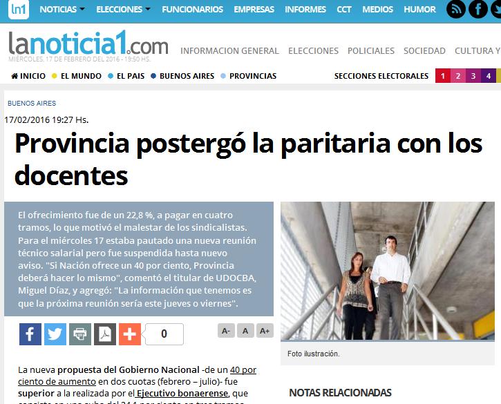 Provincia postergó la paritaria con los docentes - LaNoticia1.com