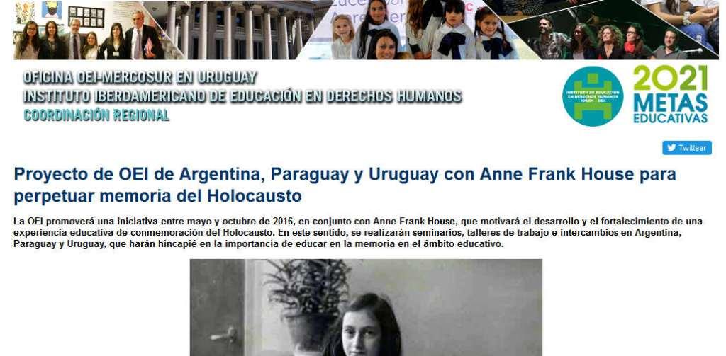 Proyecto de OEI de Argentina, Paraguay y Uruguay con Anne Frank House para perpetuar memoria del Holocausto