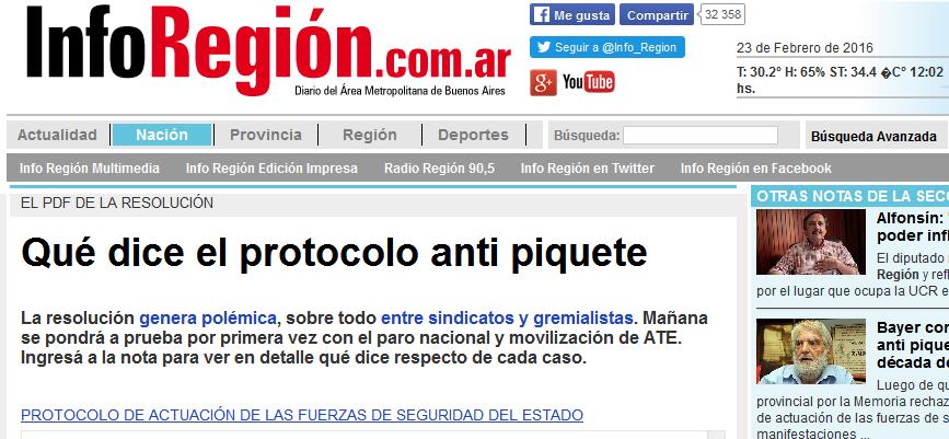 Qué dice el protocolo anti piquete - inforegion.com.ar