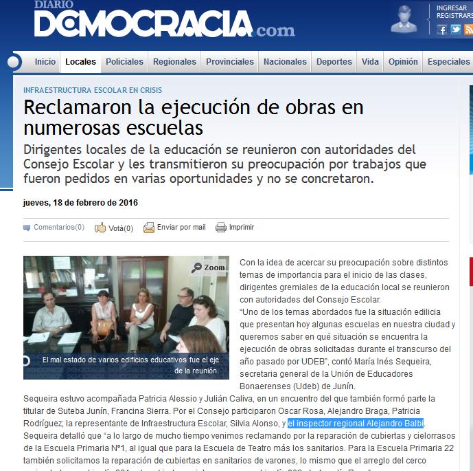 Reclamaron la ejecución de obras en numerosas escuelas - Diario Democracia - Noticias - Junín - Buenos Aires - Argentina