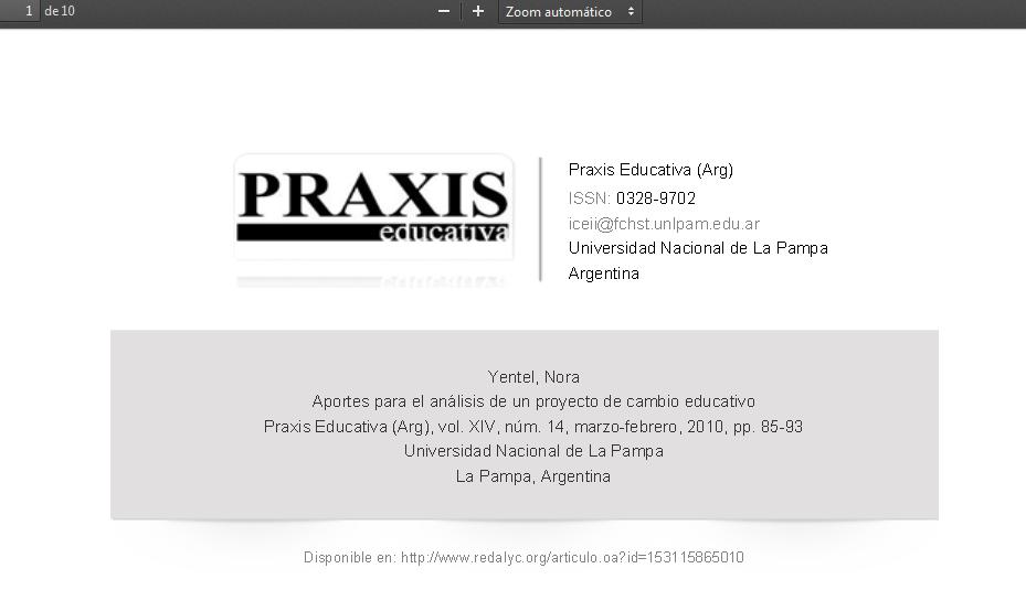 Redalyc.Aportes para el análisis de un proyecto de cambio educativo - 153115865010.pdf