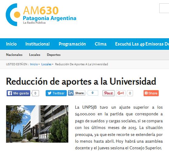 Reducción de aportes a la Universidad - Radio Nacional Patagonia