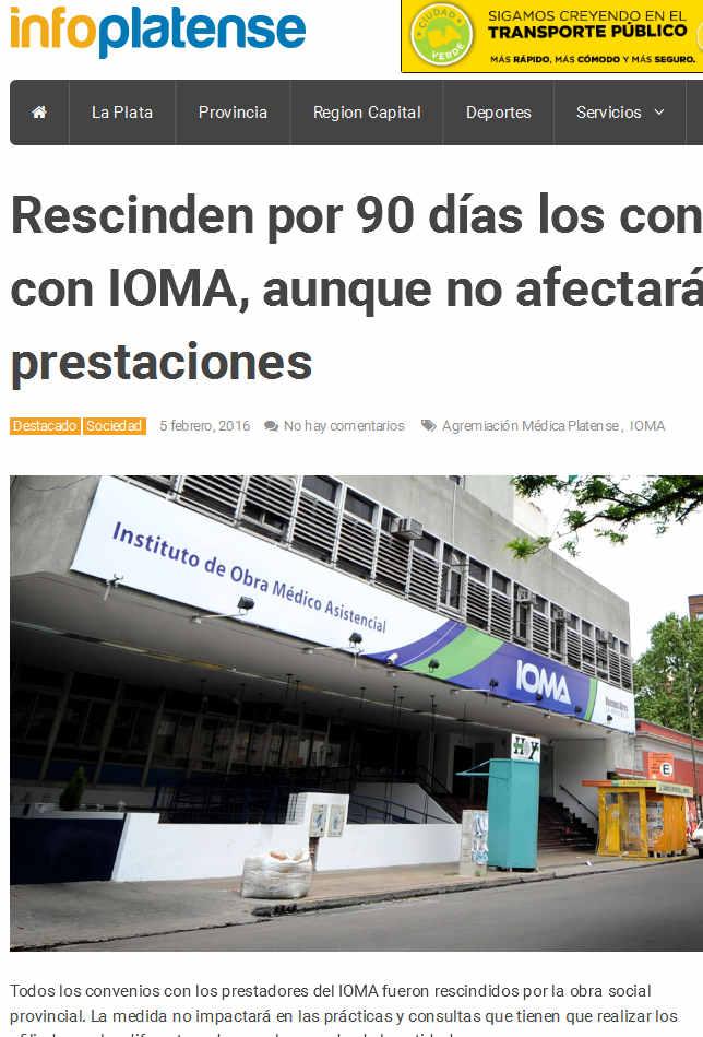 Rescinden por 90 días los convenios con IOMA, aunque no afectará las prestaciones - Info Platense