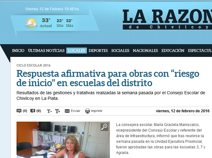 """Respuesta afirmativa para obras con """"riesgo de inicio"""" en escuelas del distrito - La Razon de Chivilcoy"""