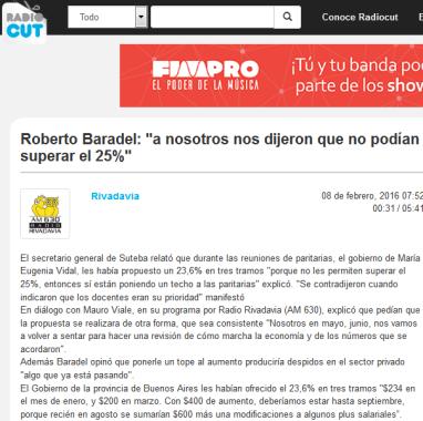 Roberto Baradel 'a nosotros nos dijeron que no podían superar el 25%' - Radiocut